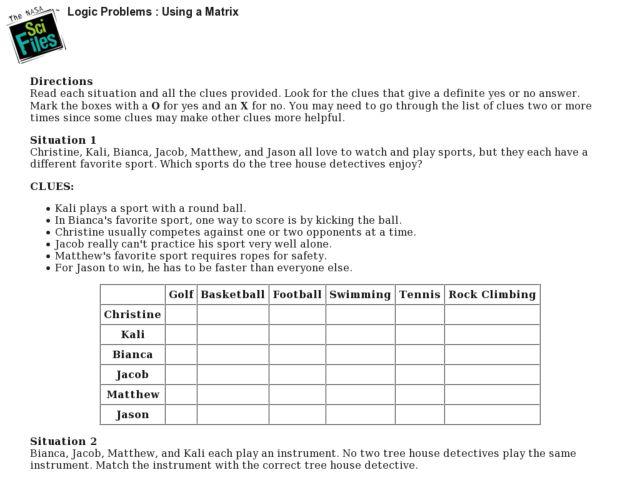 Logic Problems: Using a Matrix Lesson Plan for 7th - 9th Grade