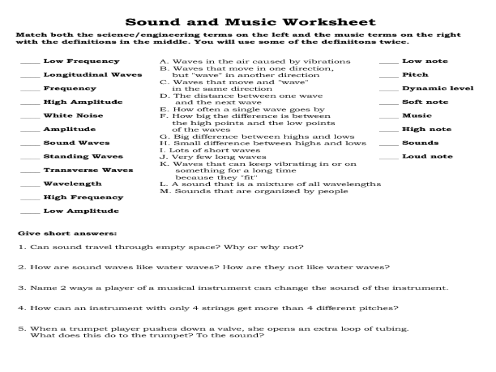 Sound and Music Worksheet Worksheet for 7th - 10th Grade | Lesson Planet