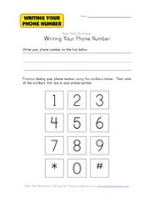 Writing Your Phone Number Worksheet