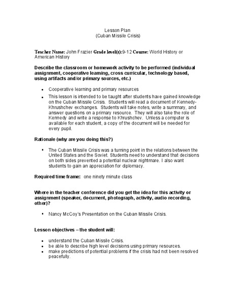 Cuban Missile Crisis Lesson Plan For 9th 12th Grade