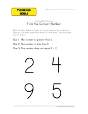 Thinking Skills: Find the Correct Number Worksheet