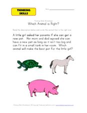 Thinking Skills: Which Animal Is Right? Worksheet