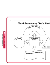 Word Questioning Work Sheet Worksheet