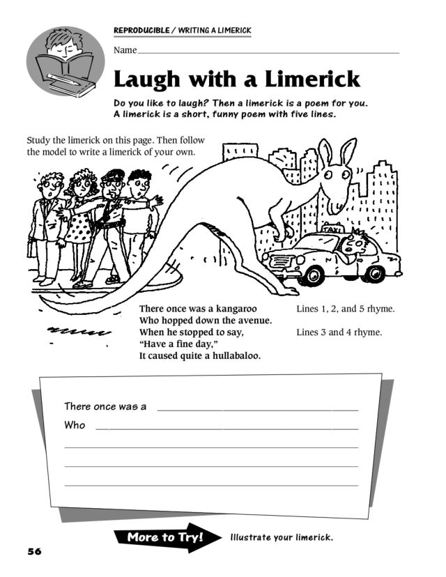 Laugh With A Limerick Worksheet For 3rd 5th Grade Lesson Planet