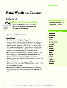 Read Words in Context Lesson Plan