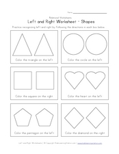 Left and Right Worksheet - Pairs of Shapes Worksheet