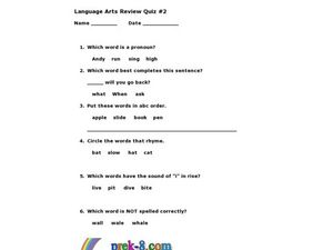 Language Arts Review Quiz #2 Worksheet