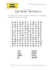 Sight Words Word Search Worksheet