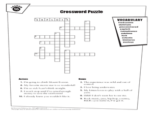 Crossword Puzzle Lesson 16 Worksheet