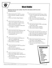 Word Riddle Lesson 3 Worksheet
