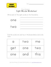 "Sight Words Worksheet: ""One"" and ""Two"" Worksheet"