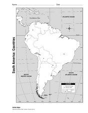 South America: Countries Worksheet