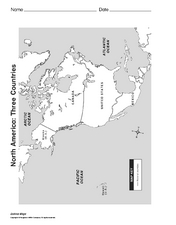North America: Three Countries Map Worksheet