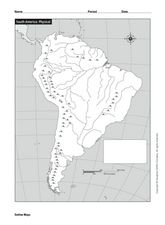 South America: Physical Map Graphic Organizer for 5th - 12th ...