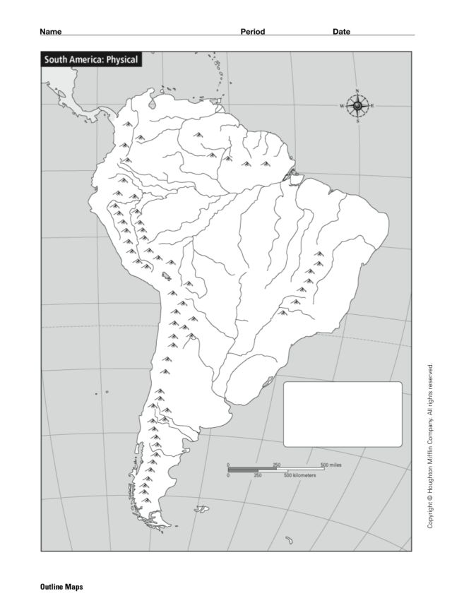 South America Physical Map 5th 12th Grade Worksheet Lesson Planet