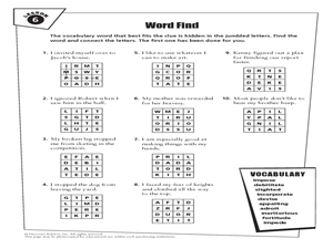 Word Find Lesson 6 Worksheet
