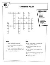 Crossword Puzzle Lesson 7 Worksheet