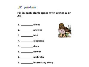 Article Adjectives: A/An Worksheet