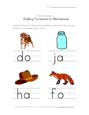 Ending Consonants Worksheet: R, G, T, X Worksheet