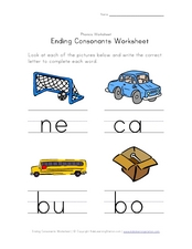 Ending Consonants Worksheet: S, R, T, X Worksheet