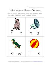 Ending Consonant Sounds: T, N, K, L Worksheet