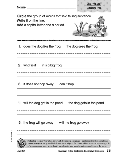 telling sentences declarative sentences worksheet for 1st 2nd grade lesson planet. Black Bedroom Furniture Sets. Home Design Ideas