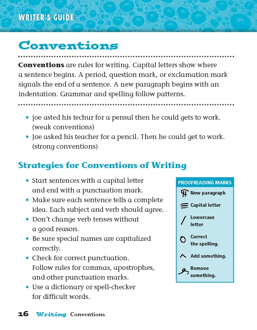 Writer's Guide: Conventions Worksheet