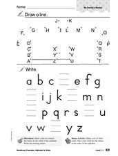 Readiness Concept: Alphabet in Order Worksheet