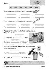 Spelling: Word Families -at and -an Worksheet
