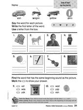 Phonics: Initial Consonants v, w, y, z Review Worksheet