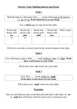 Literacy Task: Spelling Patterns and Rhyme Worksheet