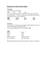 Rhyming Words with Common Endings Worksheet
