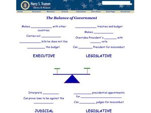 The Balance of Government Worksheet