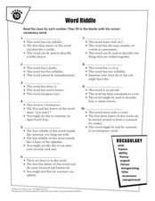 Word Riddle-Vocabulary Activity Worksheet