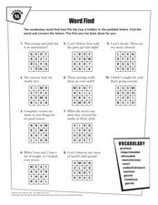 Word Find - Vocabulary Lesson 16 Worksheet