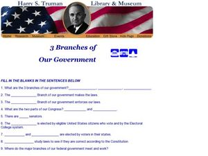 3 Branches of Our Government Worksheet