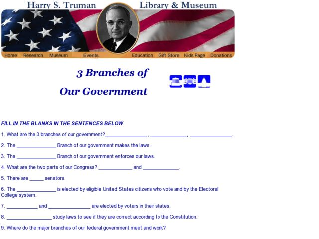 3 Branches of Our Government 6th - 12th Grade Worksheet | Lesson ...