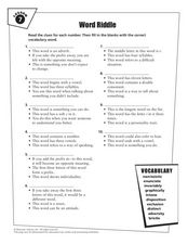 Word Riddle Vocabulary Practice Worksheet