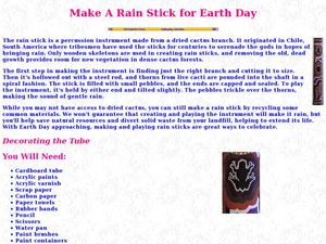Make a Rain Stick for Earth Day Lesson Plan