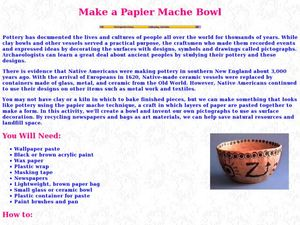 Make a Paper Mache Bowl Lesson Plan