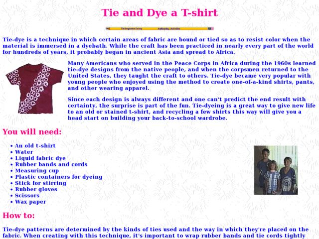 Tie and Dye a T-shirt Lesson Plan