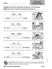 Cherry Pies and Lullabies: Grammar Worksheet