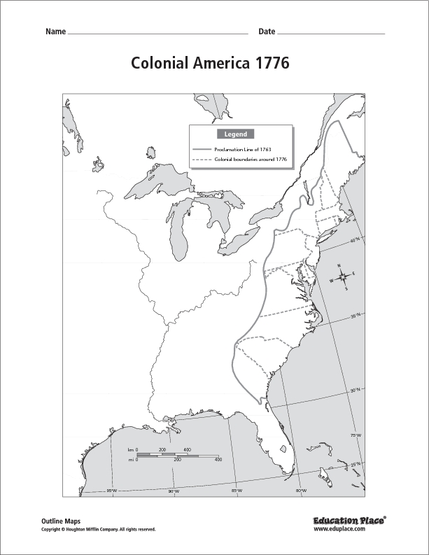 Colonial America 1776 Map Graphic Organizer For 5th 12th Grade