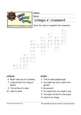 'O/magic e' Crossword Worksheet