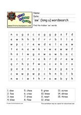 'Ew' (long u) Wordsearch Worksheet