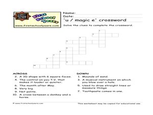 'U / magic e' Crossword Worksheet