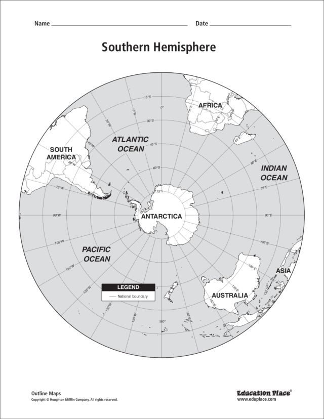 southern hemisphere map – Hemisphere Worksheet