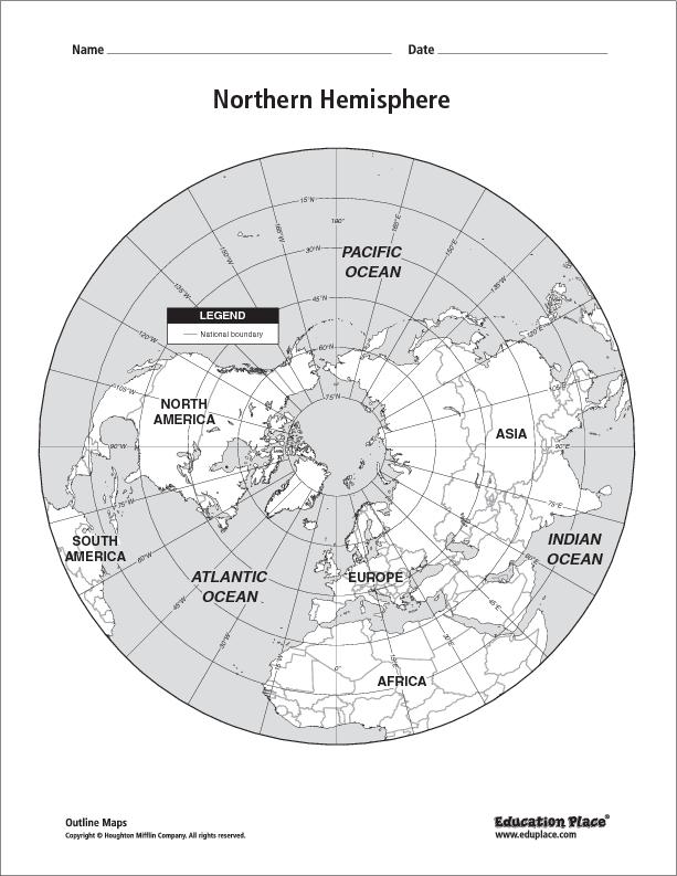 northern hemisphere map labeled