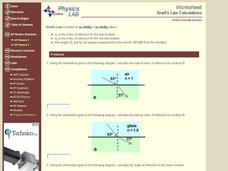 Snell's Law Calculations Interactive