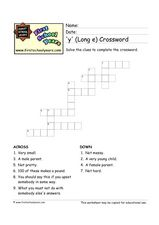 Y Long E Crossword Worksheet